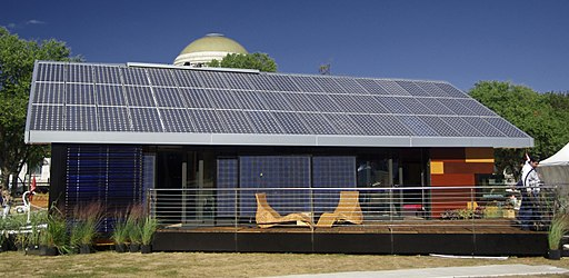 Modern solar panels on a home