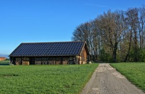 Solar panels on a barn